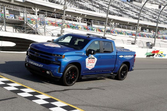 Chevy Silverado pace truck at Daytona International Speedway start-finish line. The Silverso is the first pace truck ever for Sunday's Daytona 500.