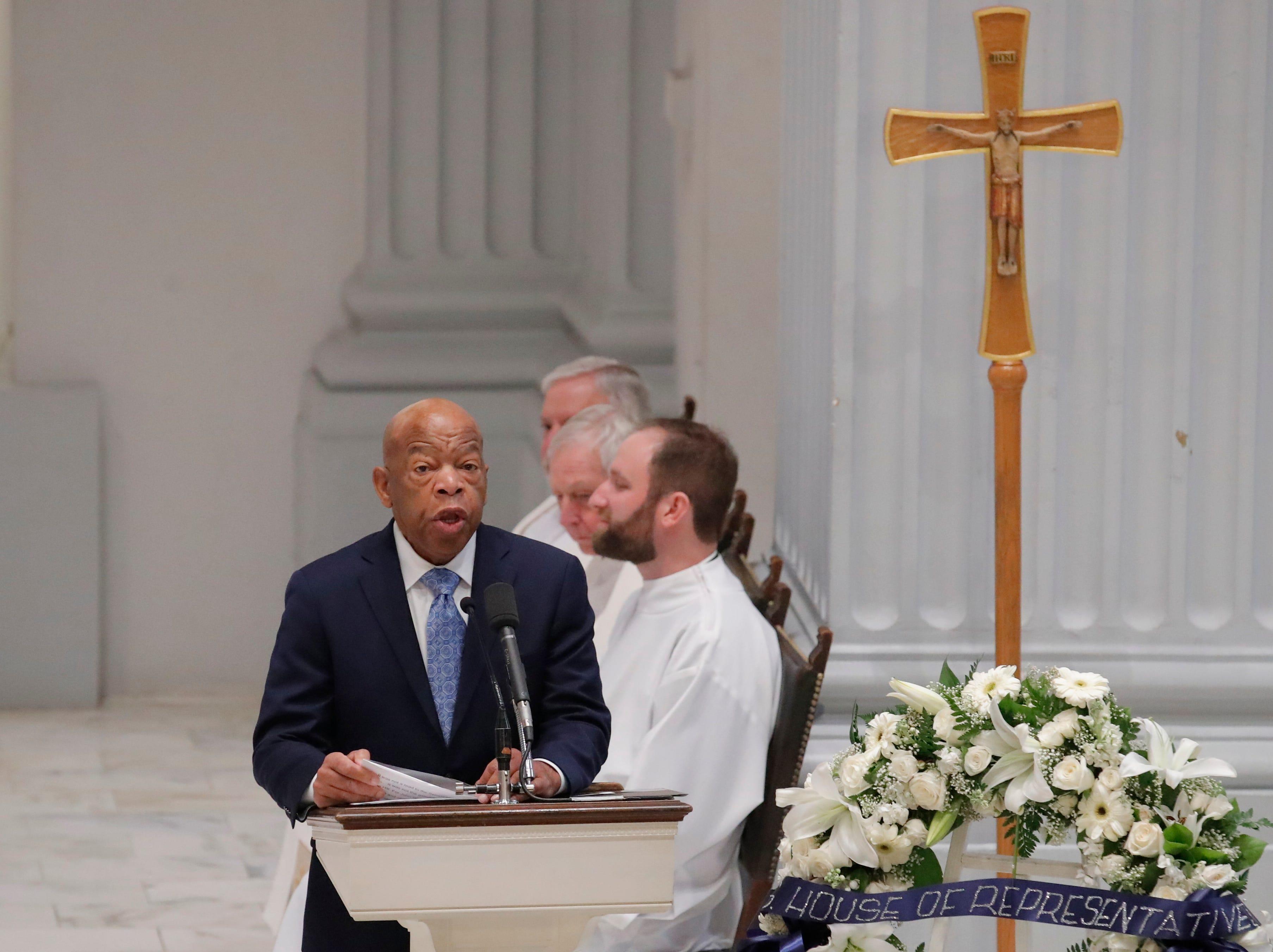 Rep. John Lewis, D-Ga., addresses John Dingell's funeral in Washington, D.C.