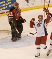 Frank Littlejohn celebrates a goal as a member of the Elmira Jackals in 2007.