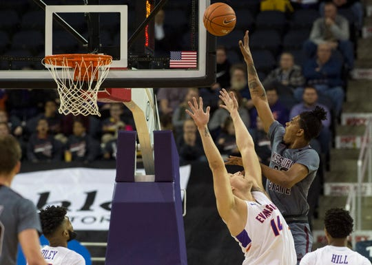 Missouri State's Tulio Da Silva (30) takes a shot in the first half of the University of Evansville vs Missouri State game at the Ford Center in Evansville, Ind. Wednesday, Feb. 13, 2019.