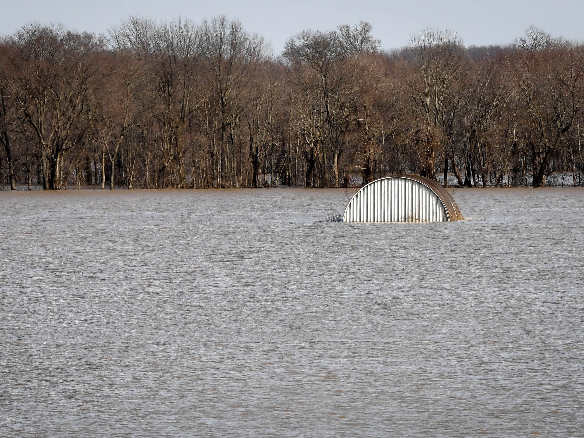 Flooding along the East Fork of the White River off of I-69 Wednesday, February 13, 2019.