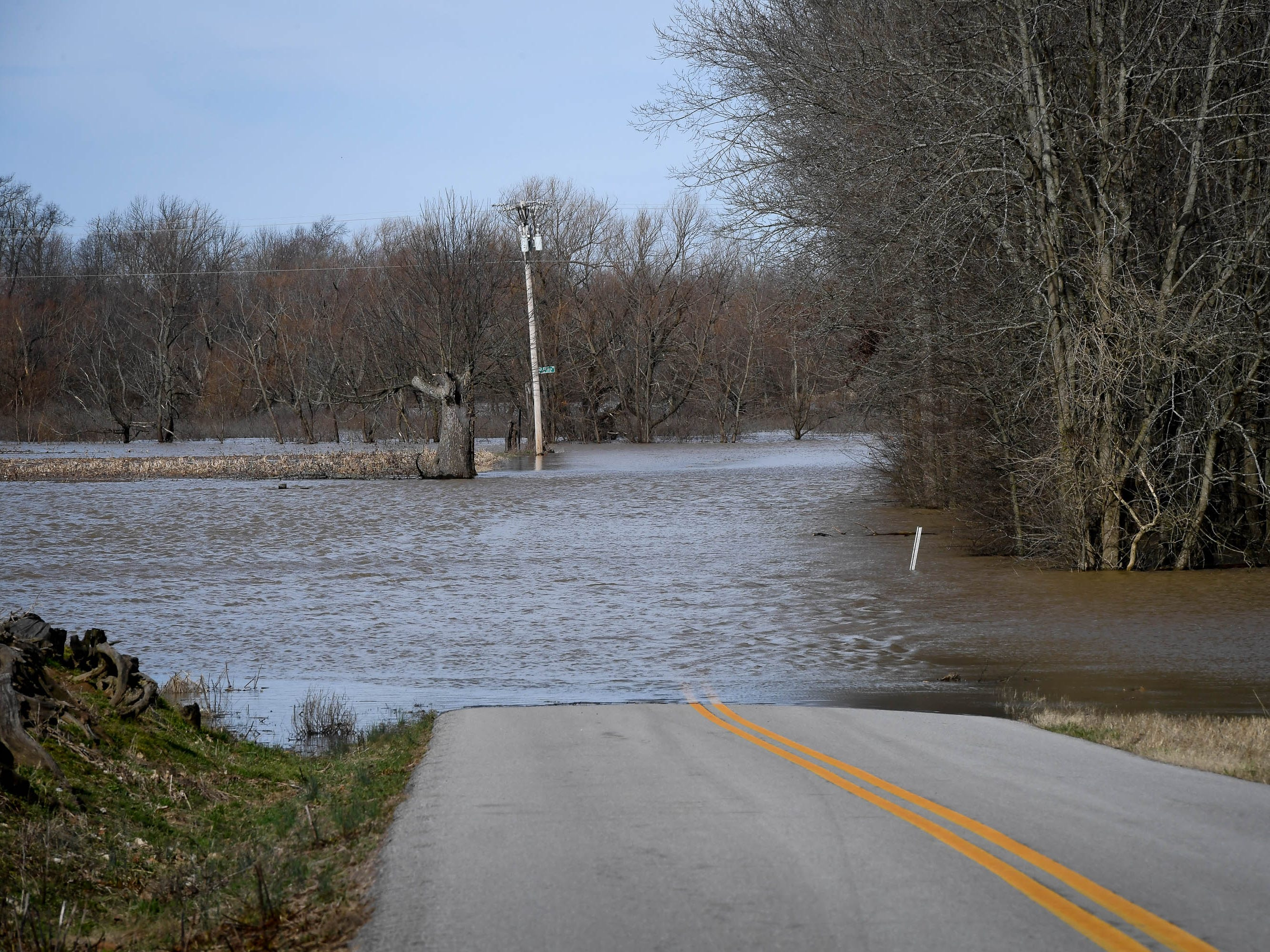 Flood water cover Highway 268 in Henderson County Thursday, February 14, 2019.