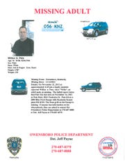 Missing person flyer for Wilbur Pate.