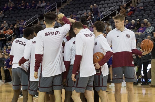 The Missouri State Bears Mens Basketball team gather before the University of Evansville vs Missouri State game at the Ford Center in Evansville, Ind. Wednesday, Feb. 13, 2019.