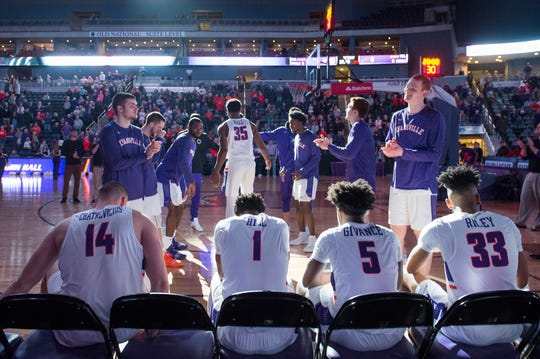 The University of Evansville Purple Aces starting lineup is called during the University of Evansville vs Missouri State game at the Ford Center in Evansville, Ind. Wednesday, Feb. 13, 2019.