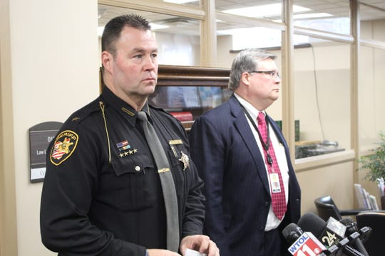 Sandusky County Sheriff Chris Hilton and Sandusky County Prosecutor Tim Braun answer questions Wednesday, after Daniel Myers pleaded guilty to the 2015 murder of Heather Bogle, about an investigation into the 2009 death of Myers' ex-girlfriend.