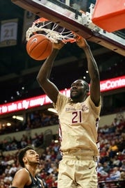 Florida State senior center Christ Koumadje scored 20 points and grabbed 12 rebounds against Wake Forest.