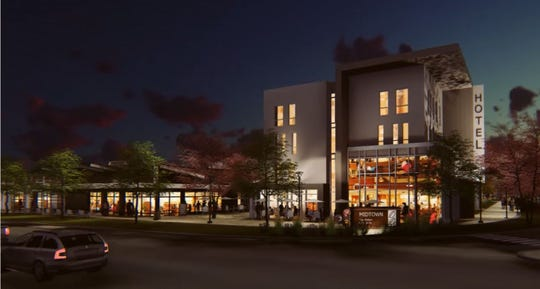 A new 100-room hotel is part of a mixed-use development proposed by Brinkman on land currently occupied by Spradley-Barr at College Avenue and Drake Road.