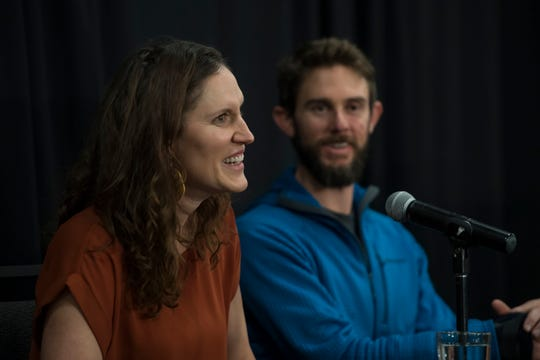 Local runner Travis Kauffman's girlfriend Annie Bierbower talks about her initial reaction to hearing that Kauffman had been attacked by an adolescent mountain lion, as seen on Thursday, Feb. 14, 2019, in Fort Collins, Colo.
