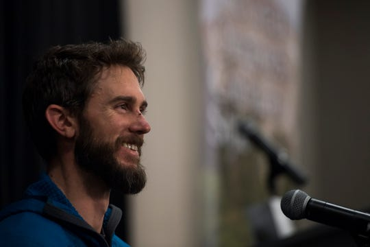 Tunner Travis Kauffman recounts recently being attacked by an adolescent mountain lion that attacked him, as seen on Thursday, Feb. 14, 2019, in Fort Collins, Colo.