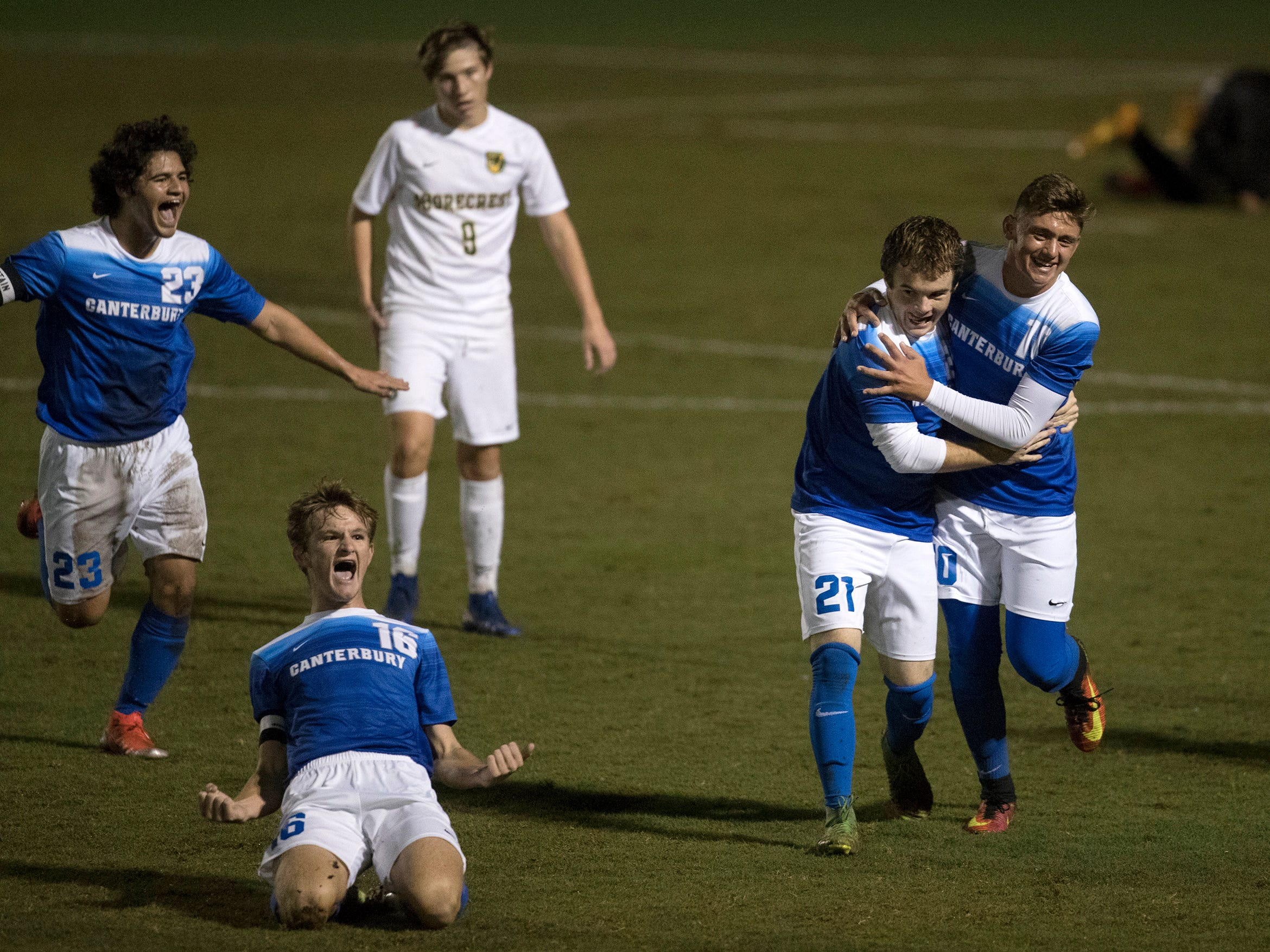 Canterbury School players celebrate scoring a goal against Shorecrest on Wednesday in the Class 1A regional soccer final at Canterbury in Fort Myers. Shorecrest beat Canterbury 3-2.