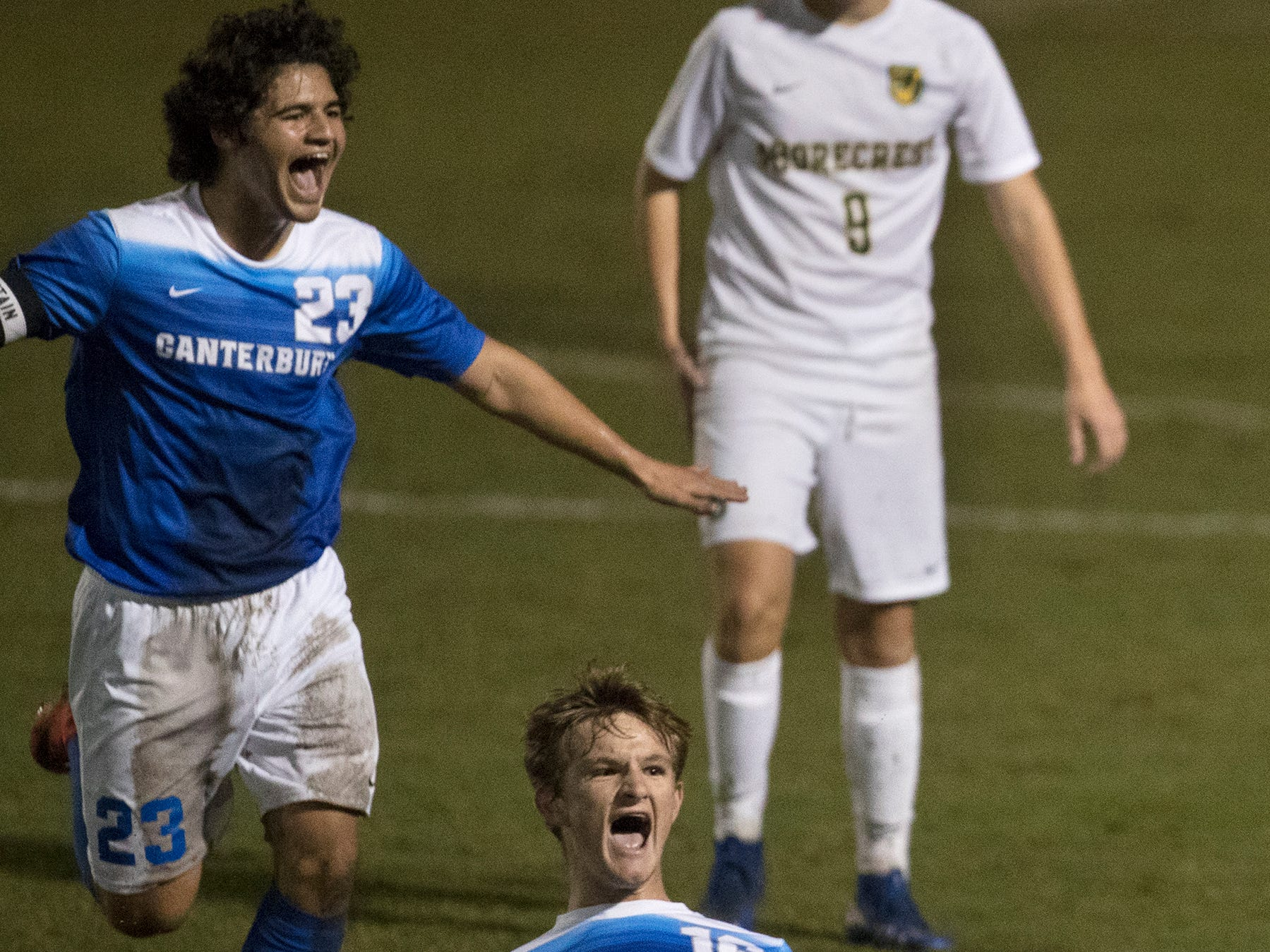 Canterbury School's Patrick Horan, front, and Austin Alley, rear, celebrate a goal against Shorecrest recently in the Class 1A regional soccer final at Canterbury in Fort Myers. Shorecrest beat Canterbury 3-2.