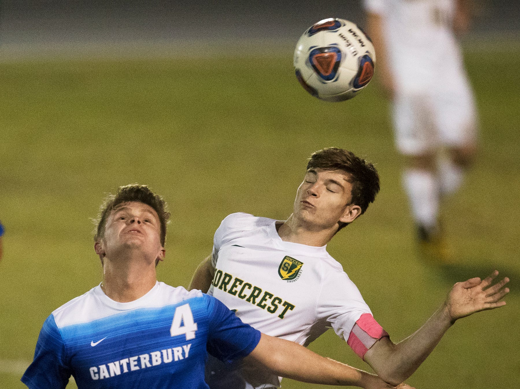 Game action between Canterbury School and Shorecrest on Wednesday in the Class 1A regional soccer final at Canterbury in Fort Myers. Shorecrest beat Canterbury 3-2.