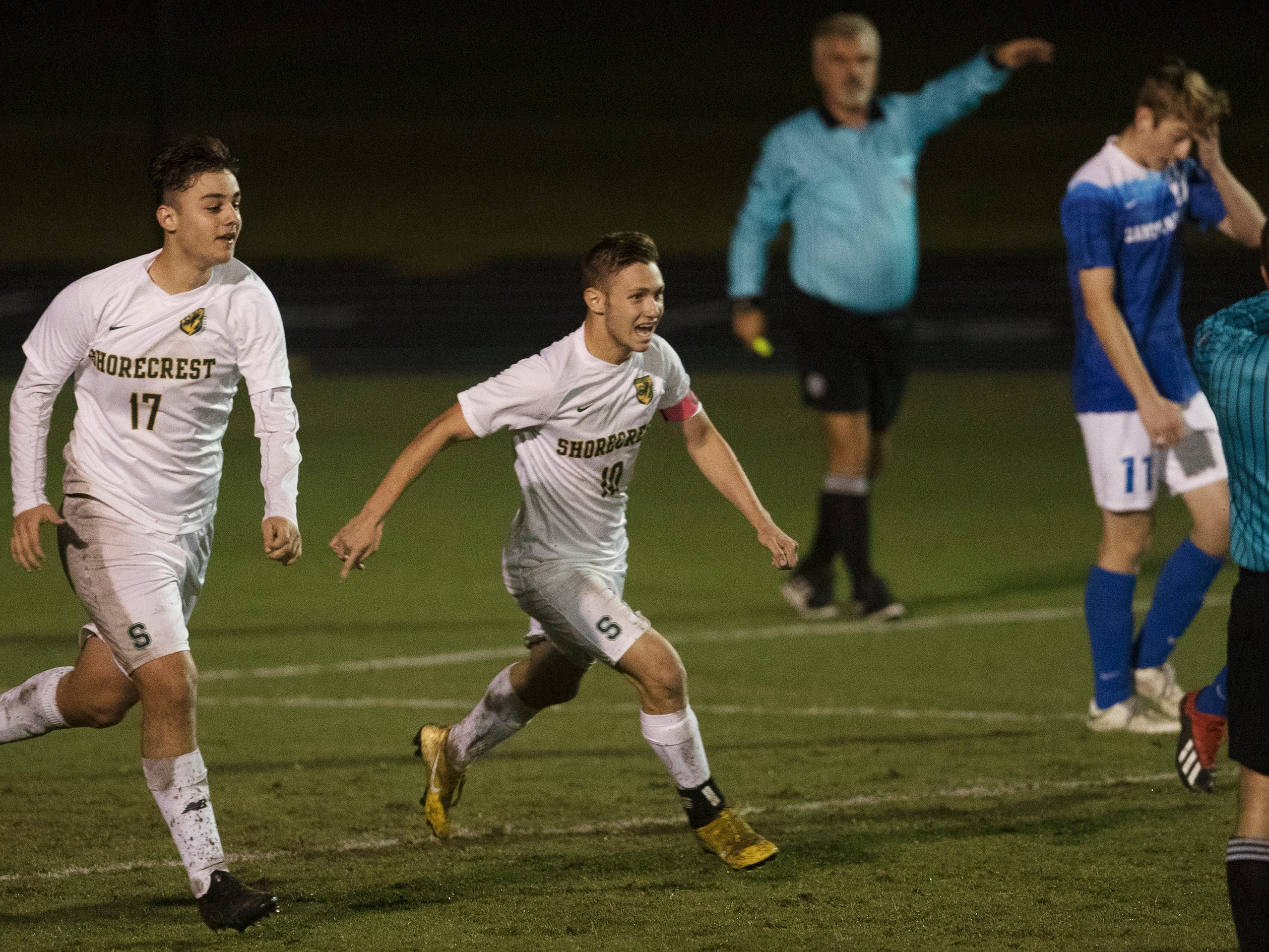 Shorecrest players celebrate scoring a goal against Canterbury on Wednesday in the Class 1A regional soccer final at Canterbury in Fort Myers. Shorecrest beat Canterbury 3-2.