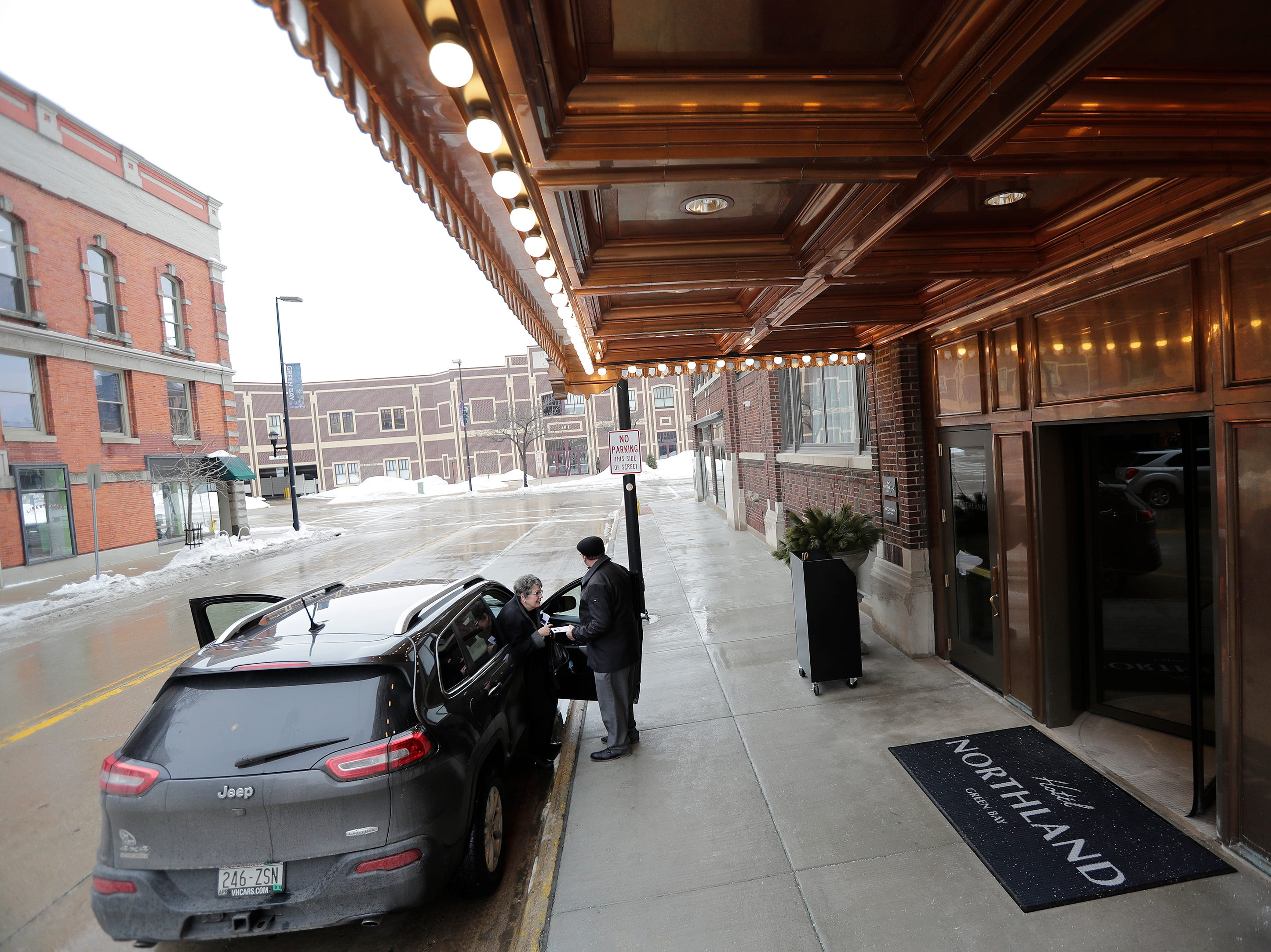 Guests arrive at the valet parking entrance of the Hotel Northland on Thursday, February 14, 2019 in Green Bay, Wis.
