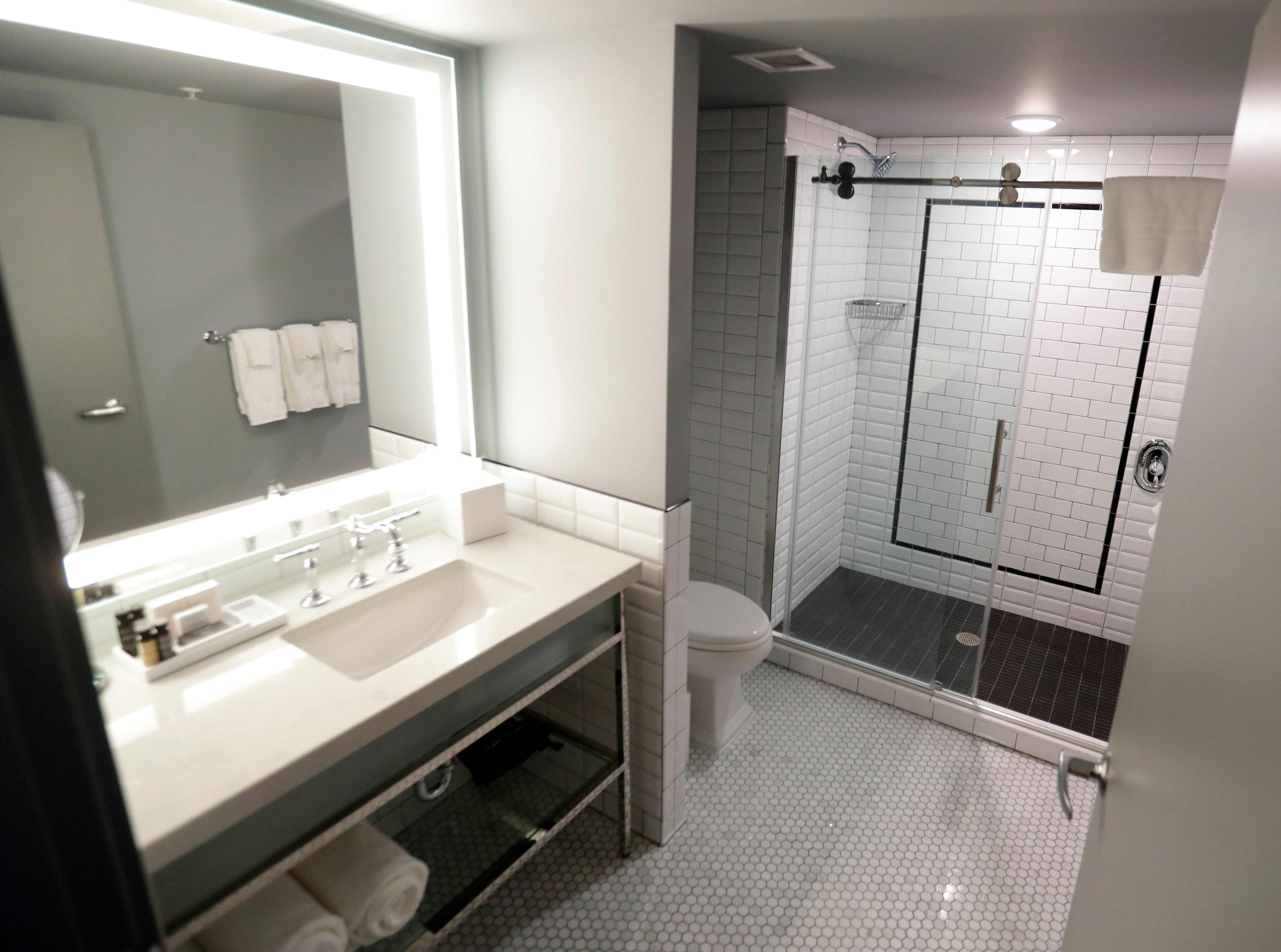The bathroom in a guestroom of the Hotel Northland, which opens to the public on Feb. 14, 2019.