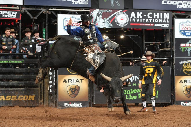 Joao Ricardo Vieira rides Shelley's Gangster during the championship round of the Glendale PBR Unleash the Beast. The Professional Bull Riders are coming to the Resch Center in May.