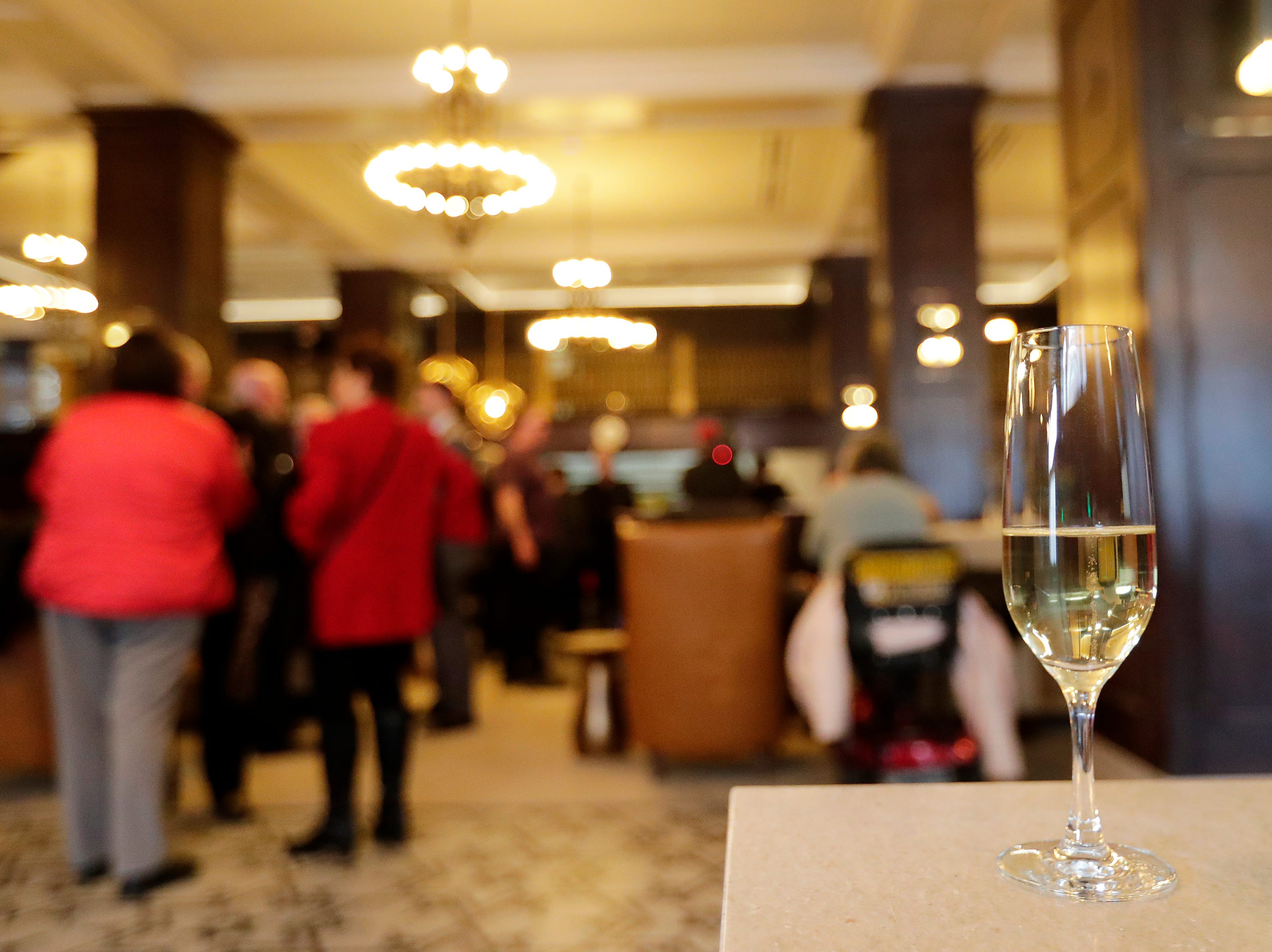 A glass of champagne at the official opening of the Hotel Northland on Thursday, February 14, 2019 in Green Bay, Wis.