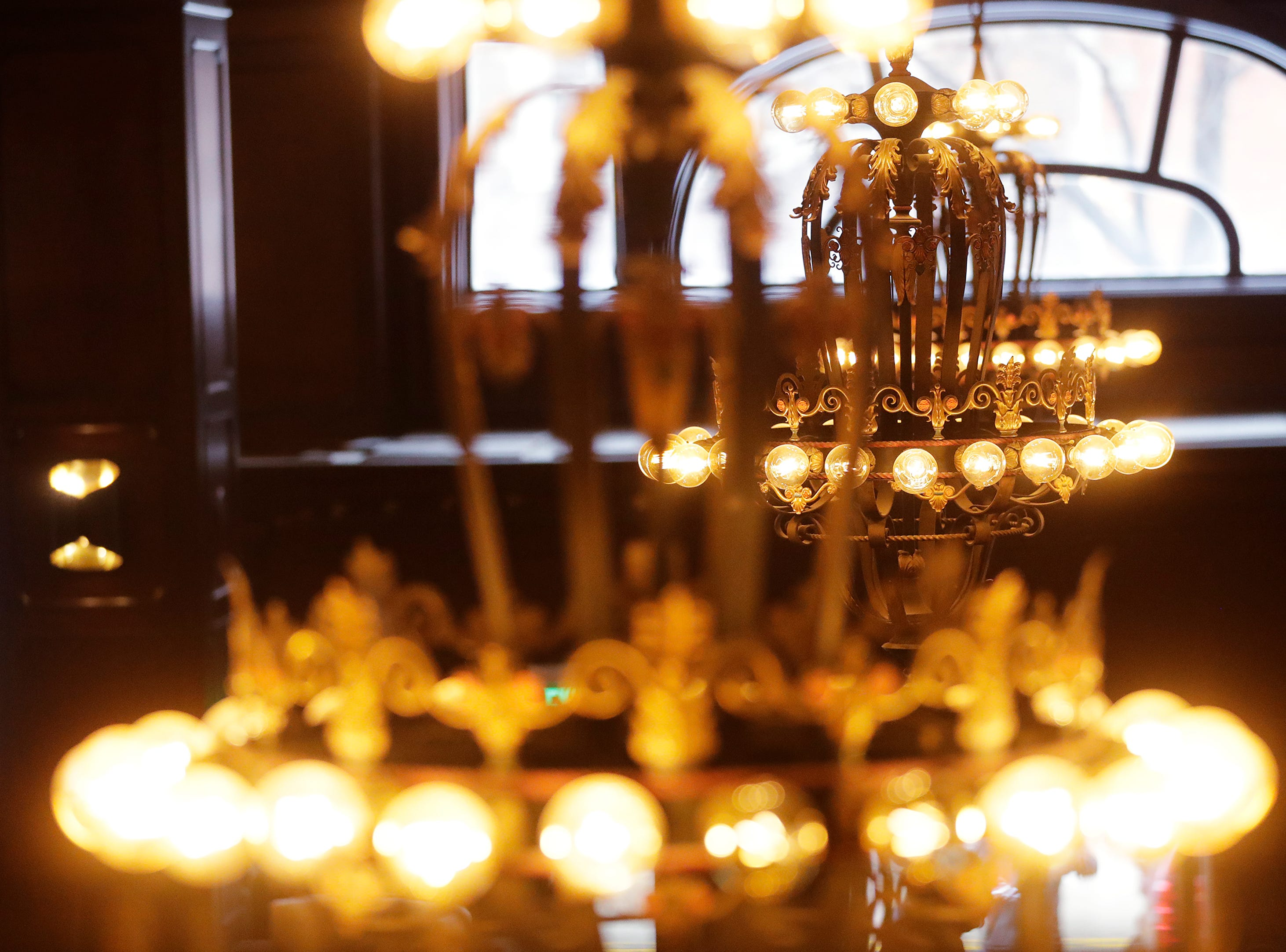 Chandeliers on the lobby of the Hotel Northland are shown on Thursday, February 14, 2019 in Green Bay, Wis.
