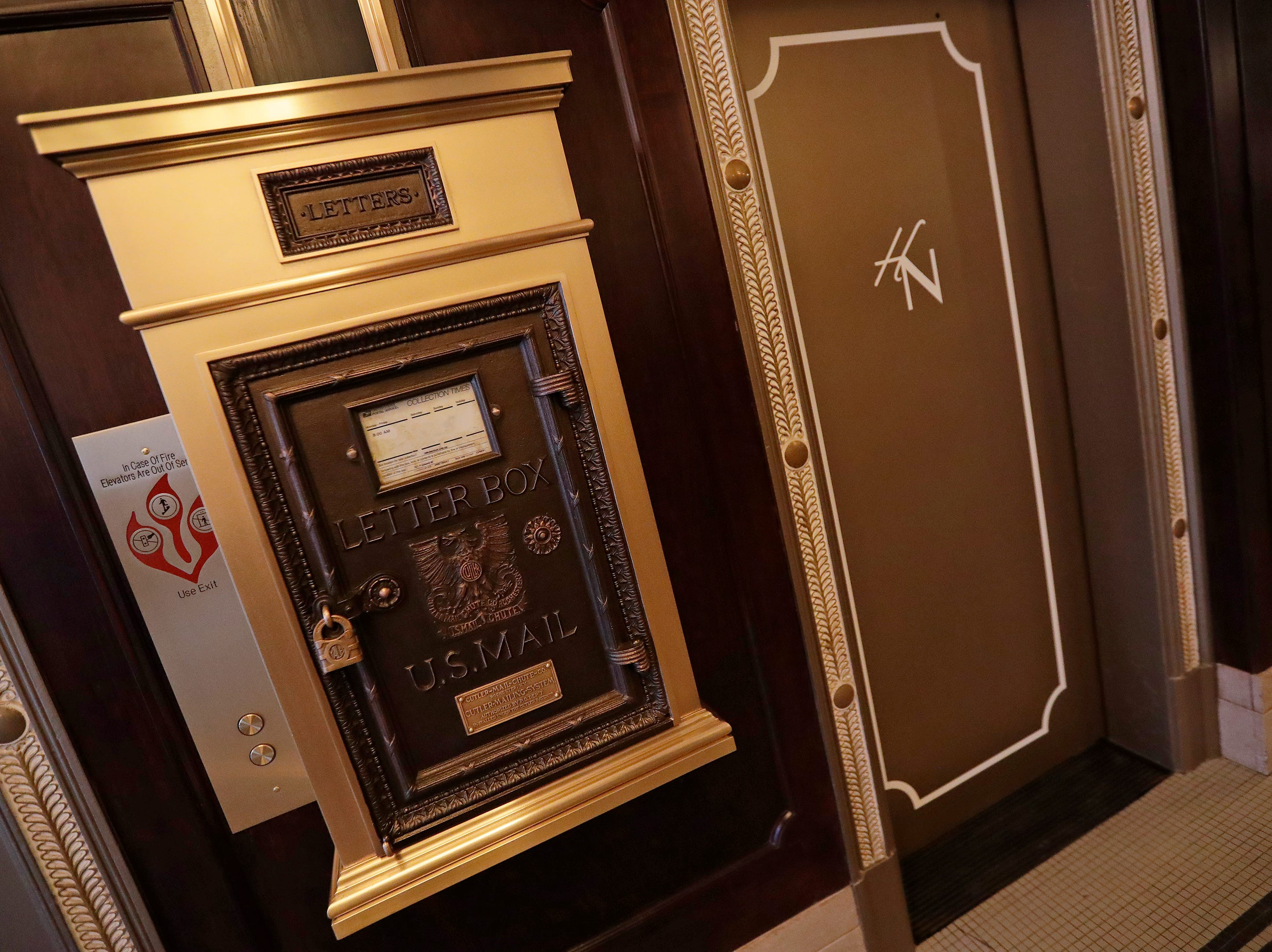 The vintage mailbox by the elevator in the lobby at the Hotel Northland is shown on Thursday, February 14, 2019 in Green Bay, Wis.