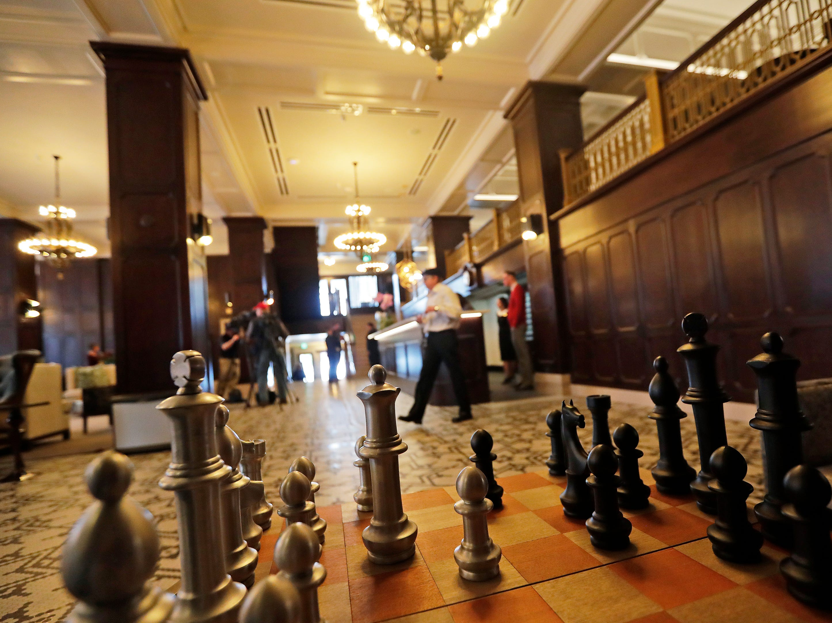 A chess table in the lobby of the Hotel Northland is shown at the hotel's official opening on Thursday, February 14, 2019 in Green Bay, Wis.