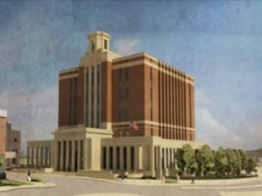 A rendering of the new downtown federal courthouse that has since been updated to remove brick.