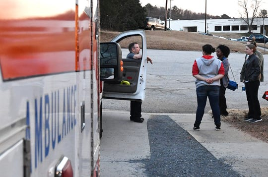 John LeBlanc Jr. talks to students in an emergency medical care course at Greenville Technical College about how to size up a scene when first arriving at an emergency situation.