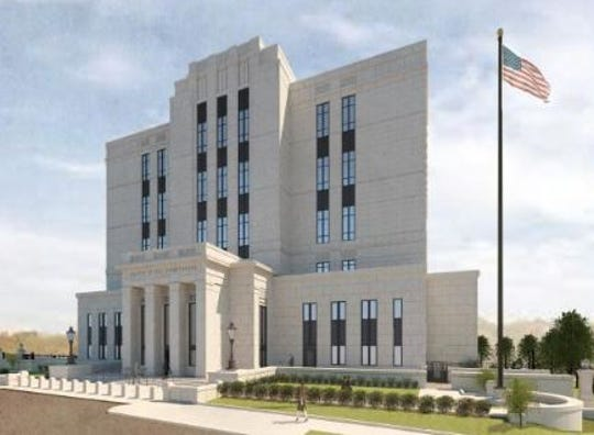 A rendering of the new downtown federal courthouse as of Feb. 14, 2019.