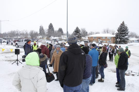 "On Wednesday, the community gather for the ""Topping Out"" ceremony at Great Falls High."