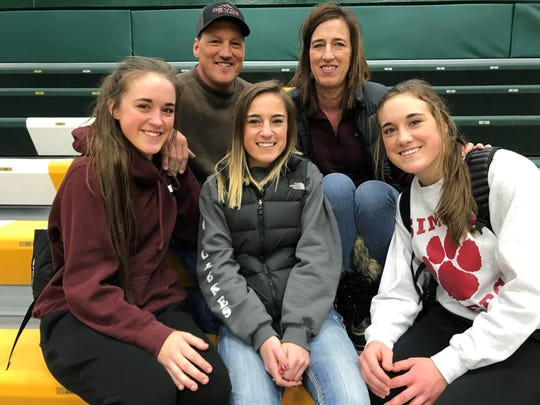 Among the Simms basketball fans Wednesday afternoon at CMR Fieldhouse were Don and Hendrika Willekes (back row) and their daughters, front row from left, Lissy, Ali and Janessa.