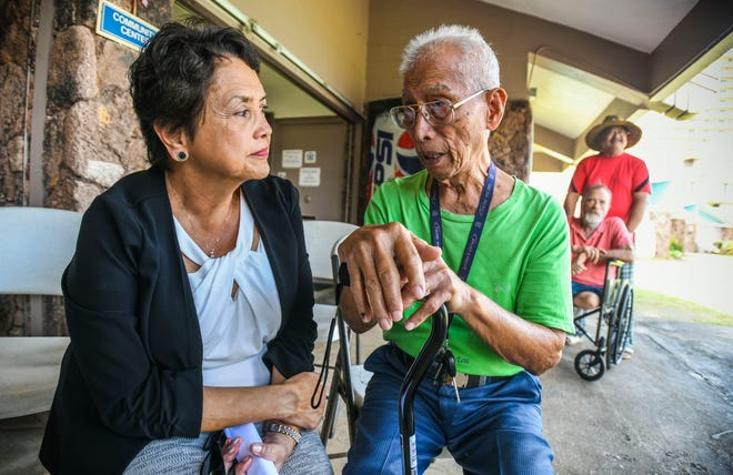 Gov. Lou Leon Guerrero listens to concerns expressed by Napoleon Canete, 89, during her visit to Guam Trankilidat on Thursday, Feb. 14, 2019. Canete, who has been a 22-year resident at the housing facility for the elderly, said he became worried after hearing that he may have to move out from his community housing unit, managed by the Guam Housing and Urban Renewal Authority.