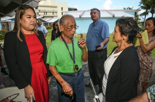 Napoleon Canete, 89, center, expresses his concerns to Gov. Lou Leon Guerrero, right, and Sen. Amanda Shelton, during their visit to Guam Trankilidat on Thursday, Feb. 14, 2019. Canete, who has been a 22-year resident at the housing facility for the elderly, said he became worried after hearing that he may have to move out from his community housing unit, managed by the Guam Housing and Urban Renewal Authority.