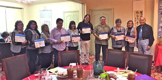 Charter members of the Guam Un Guinaiya Branch Club, whose parent club is the Guam Sunshine Lions Club, were inducted on Feb. 9 along with new members of  the Guam Sunshine Lions Club. From left: L. Dot Leon Guerrero (sponsor of L. Josephine Borja); L. Lorraine Rivera (sponsor of all the Un Guinaiya Branch members); L. LouJean Borja,(sponsor of L. Marie A.G. Salas); L. Rudy Paco, Mayor of Mongmong-Toto- Maite (GUGBC); L. June Blas, Mayor of Barrigada (GUGBC); L. Jessie Bautista, Vice-Mayor of Barrigada (GUGBC); L. Angel Sablan,Executive Director of the Mayors' Council of Guam, ( President, GUGBC); L. Josephine Borja, (GSLC); L. Marie A.G. Salas, (GSLC); and L. Pete Babauta, President of the Guam Sunshine Lions Club. Not shown are L. Jason Rui (GUGBC) and L. Julie LeBreton (GSLC).