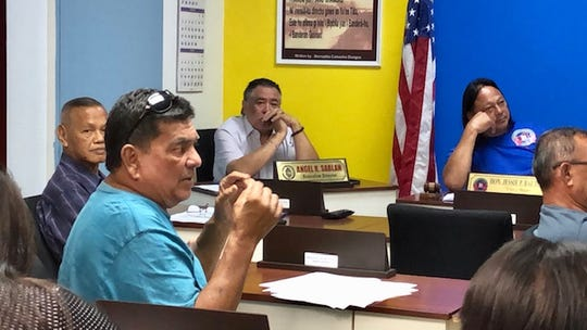 Agana Heights Mayor Paul McDonald addresses his colleagues during a Feb. 6, 2019 meeting of the Mayors' Council of Guam.