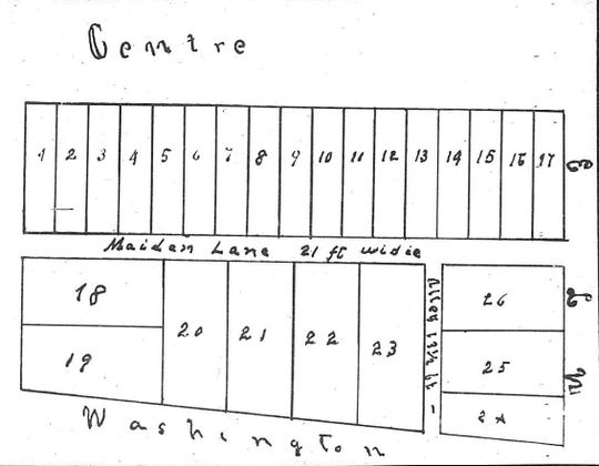 """This plat of of a subdivision in Central Park was created in 1865 to further the sale of lots by the city of Henderson Sept. 9 of that year. Note the street called """"Maiden Lane"""" that bisects the park east to west. The city sued in 1868 to collect some of the money owed but the lawsuit backfired --  the court ruled the 1865 deeds were null and void."""