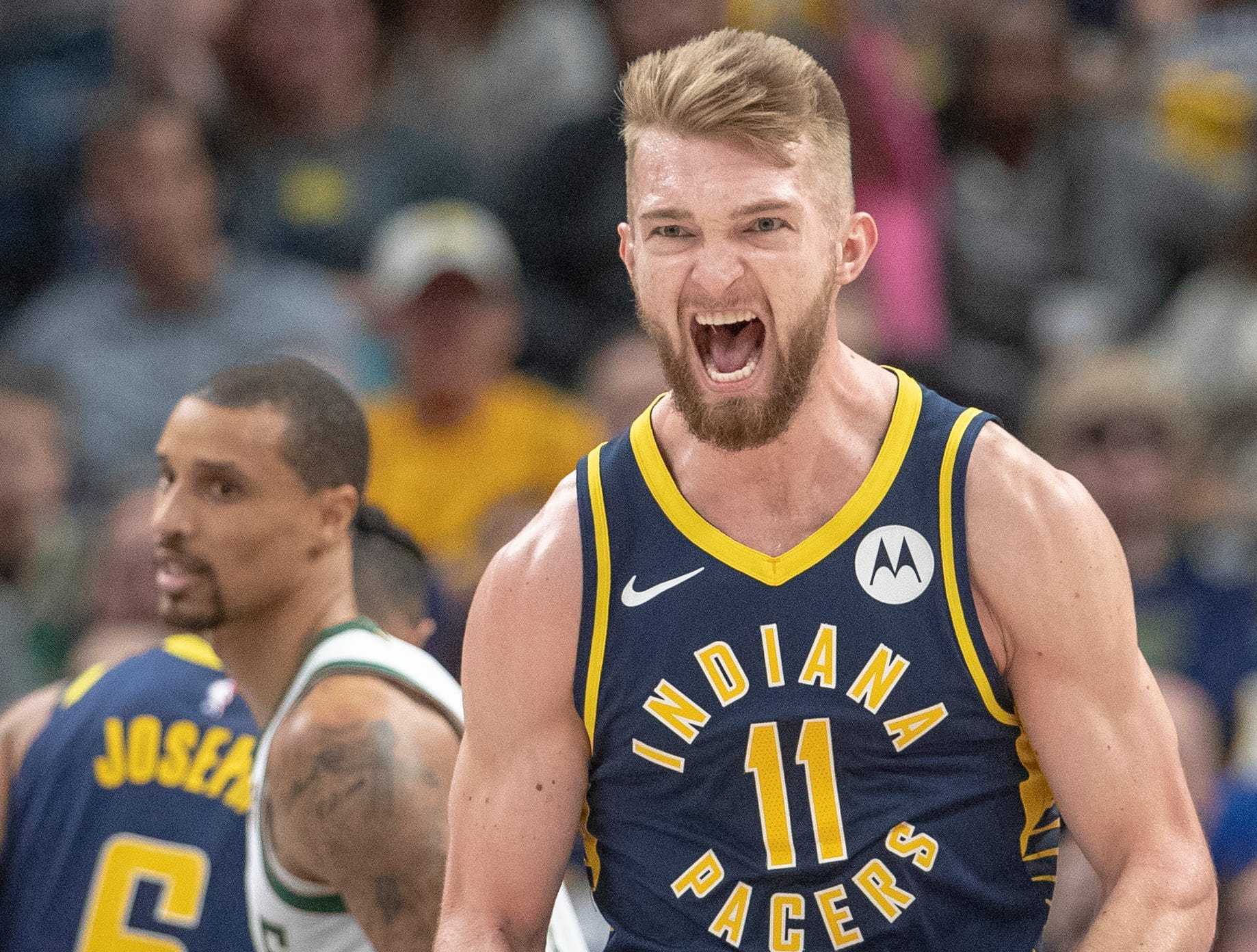 Domantas Sabonis of the Indiana Pacers yells after scoring a tough second half basket for the Pacers against Milwaukee, Bankers Life Fieldhouse, Wednesday, Feb. 13, 2019. Milwaukee won 106-97.