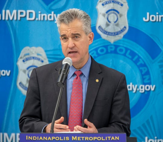 Josh Minkler, United States Attorney, during an announcement about a multi-agency operation that resulted in 25 people charged, plus removal of guns and narcotics from Indianapolis, Thursday, Feb. 14, 2019. The operation, dubbed Garage Band, resulted in the seizing of methamphetamine, heroin, and cocaine, plus 40 firearms of varying types.