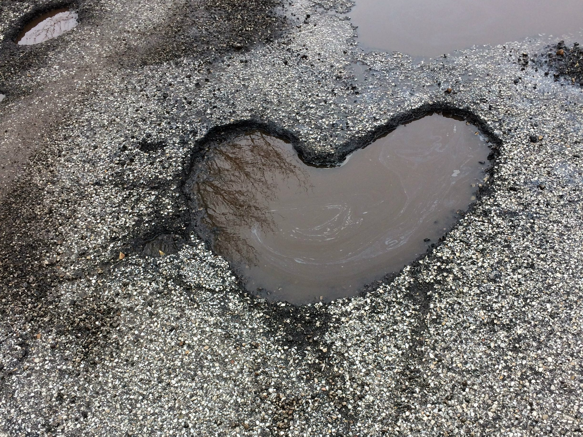 Indianapolis man finds perfect heart-shaped pothole for Valentine's Day