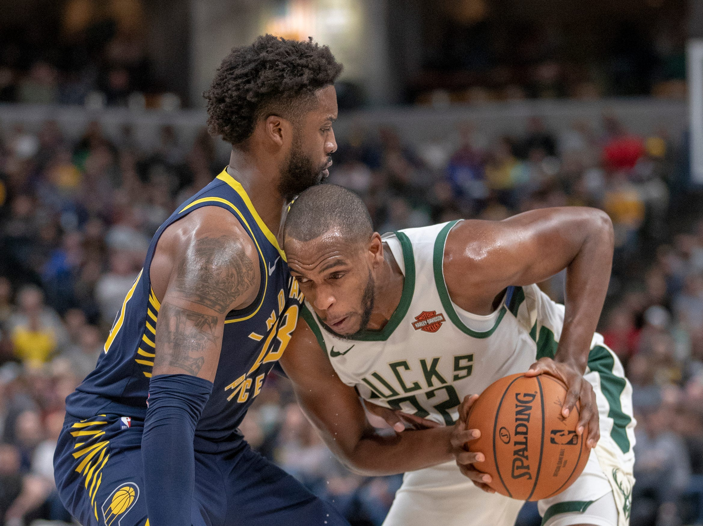 Wesley Matthews of the Indiana Pacers defends Khris Middleton of the Milwaukee Bucks, during game action, Bankers Life Fieldhouse, Wednesday, Feb. 13, 2019. Milwaukee won 106-97.