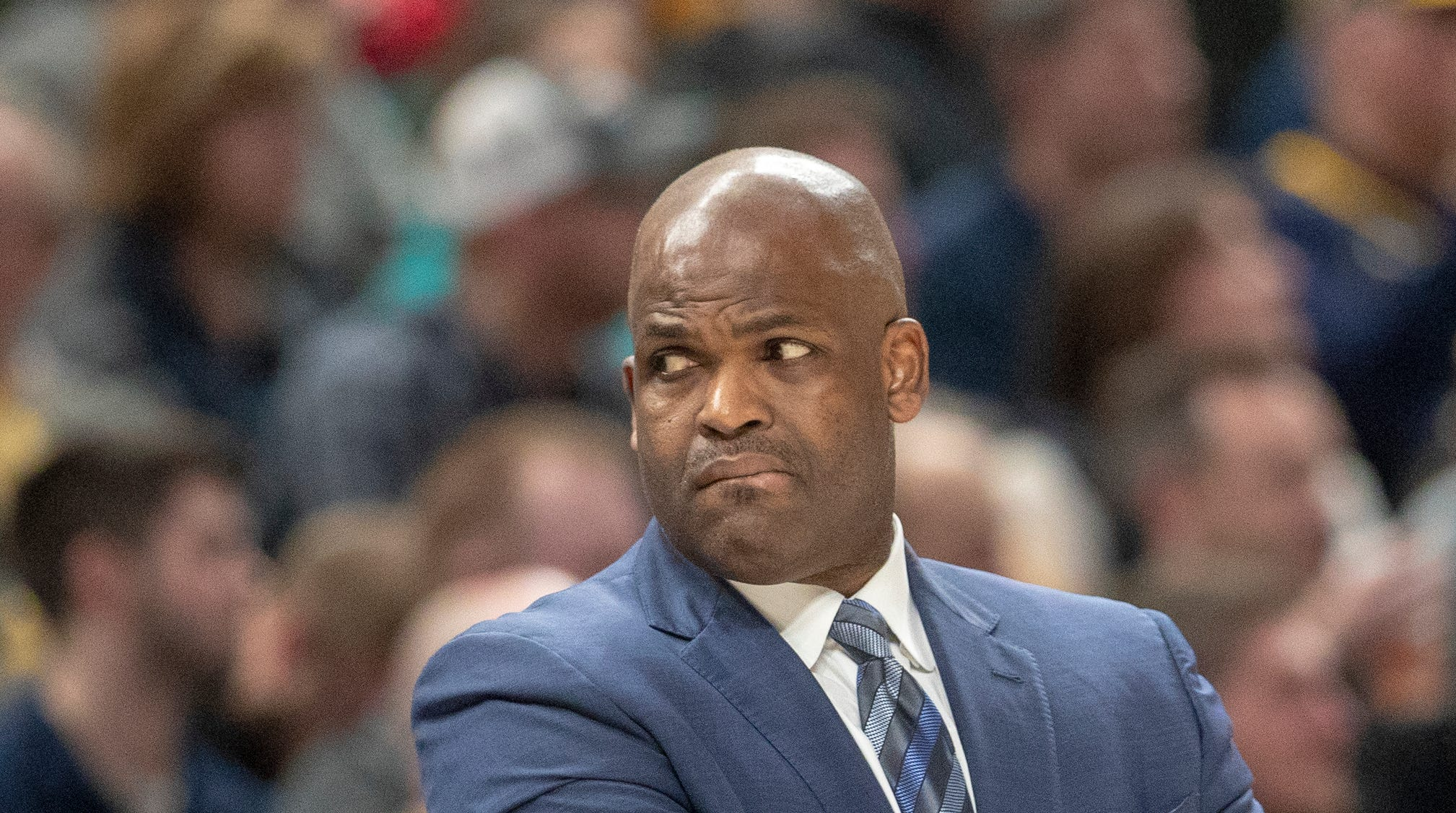 Nate McMillan, head coach of the Pacers, during game action against Milwaukee, Bankers Life Fieldhouse, Wednesday, Feb. 13, 2019.
