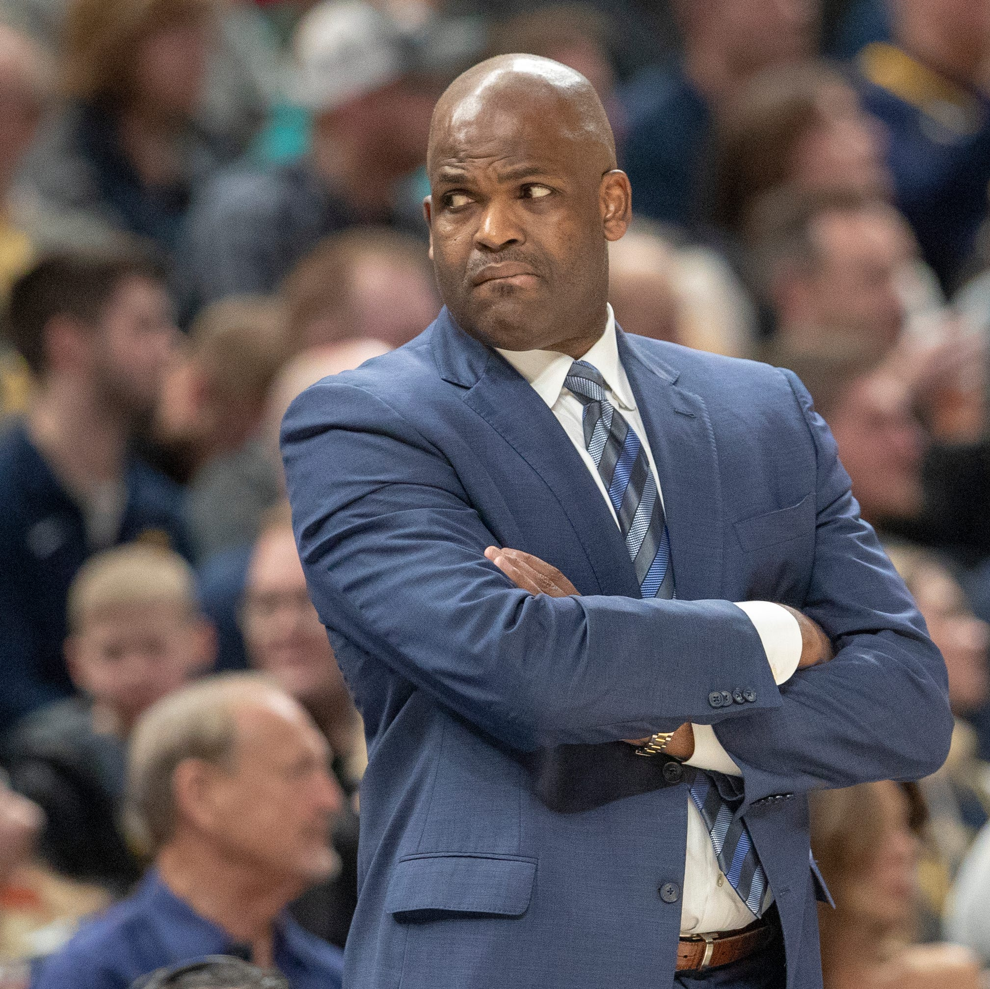 Nate McMillan, head coach of the Pacers, during...