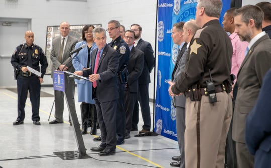 An announcement about a multi-agency operation that resulted in 25 people charged, plus removal of guns and narcotics from Indianapolis, Thursday, Feb. 14, 2019. The operation, dubbed Garage Band, resulted in the seizing of methamphetamine, heroin, and cocaine, plus 40 firearms of varying types.