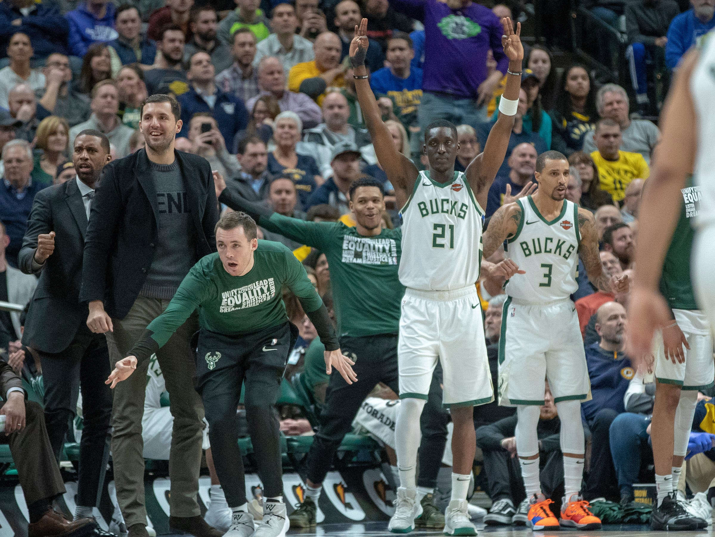 Milwaukee bench players celebrate a late score to pull the game away for them against Indiana, Bankers Life Fieldhouse, Indianapolis, Wednesday, Feb. 13, 2019. Milwaukee won 106-97.