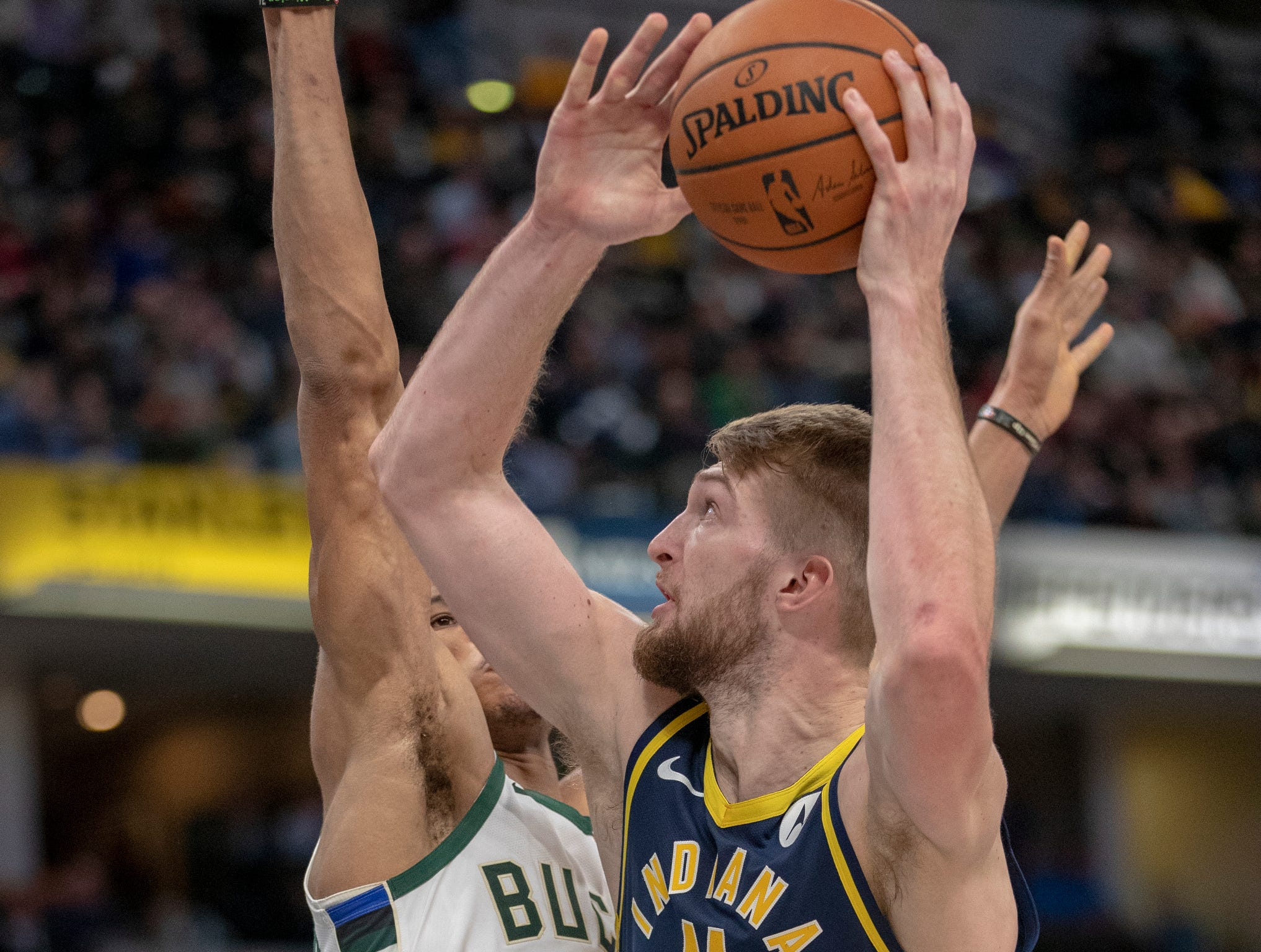 Domantas Sabonis of the Indiana Pacers works against Giannis Antetokounmpo of the Milwaukee Bucks, Bankers Life Fieldhouse, Indianapolis, Wednesday, Feb. 13, 2019. Milwaukee won 106-97.