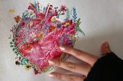 Two heart transplants saved her and now her art therapy will help others