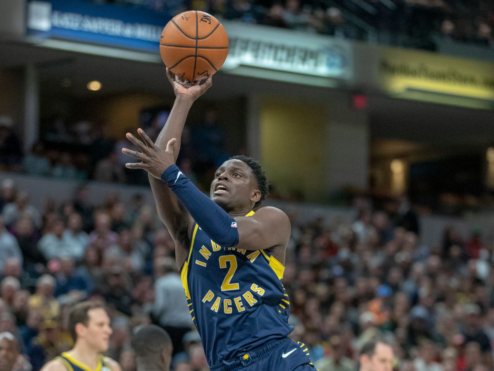 Darren Collison of the Indiana Pacers puts up a shot against Milwaukee, Bankers Life Fieldhouse, Indianapolis, Wednesday, Feb. 13, 2019. Milwaukee won 106-97.
