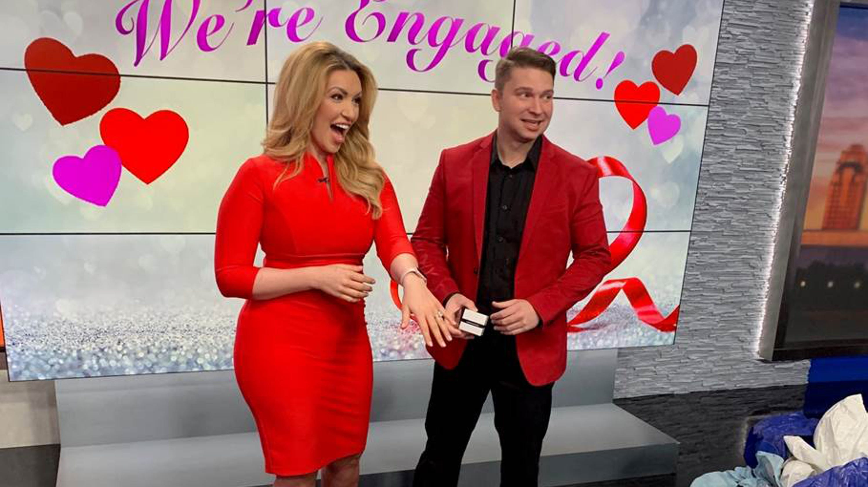 783d586121ed23 Valentine s Day marriage proposal captured on morning TV news set