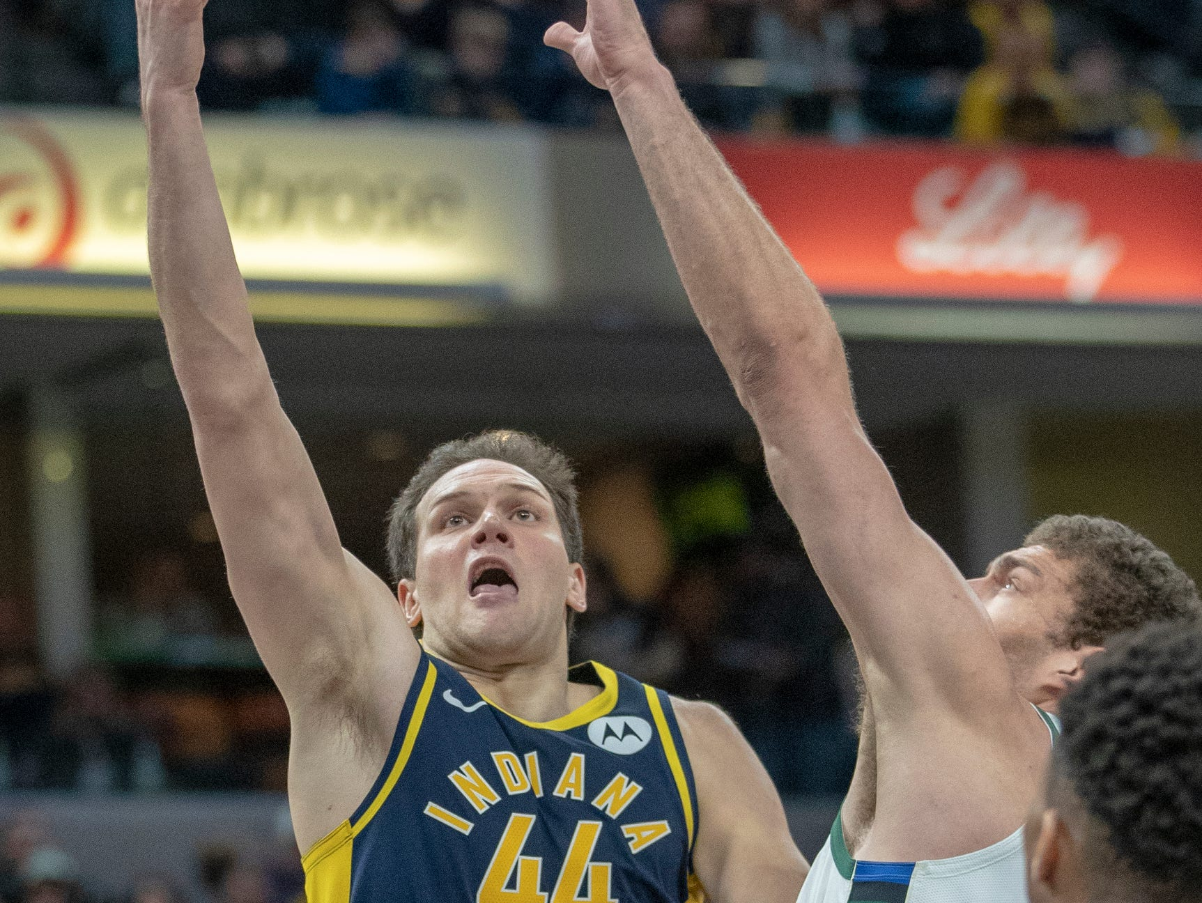 Bojan Bogdanovic of the Indiana Pacers puts up a shot against Milwaukee, Bankers Life Fieldhouse, Indianapolis, Wednesday, Feb. 13, 2019. Milwaukee won 106-97.