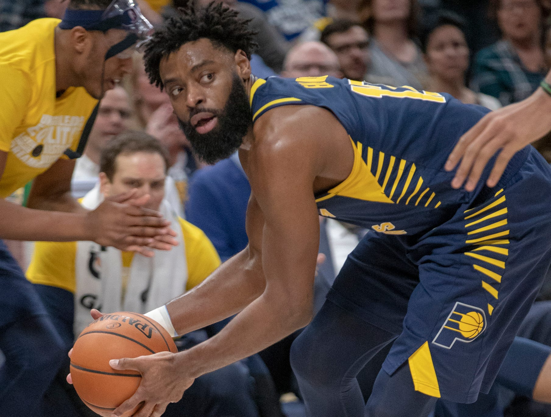 Tyreke Evans of the Indiana Pacers saves a ball from going out of play against Milwaukee, Bankers Life Fieldhouse, Indianapolis, Wednesday, Feb. 13, 2019. Milwaukee won 106-97.