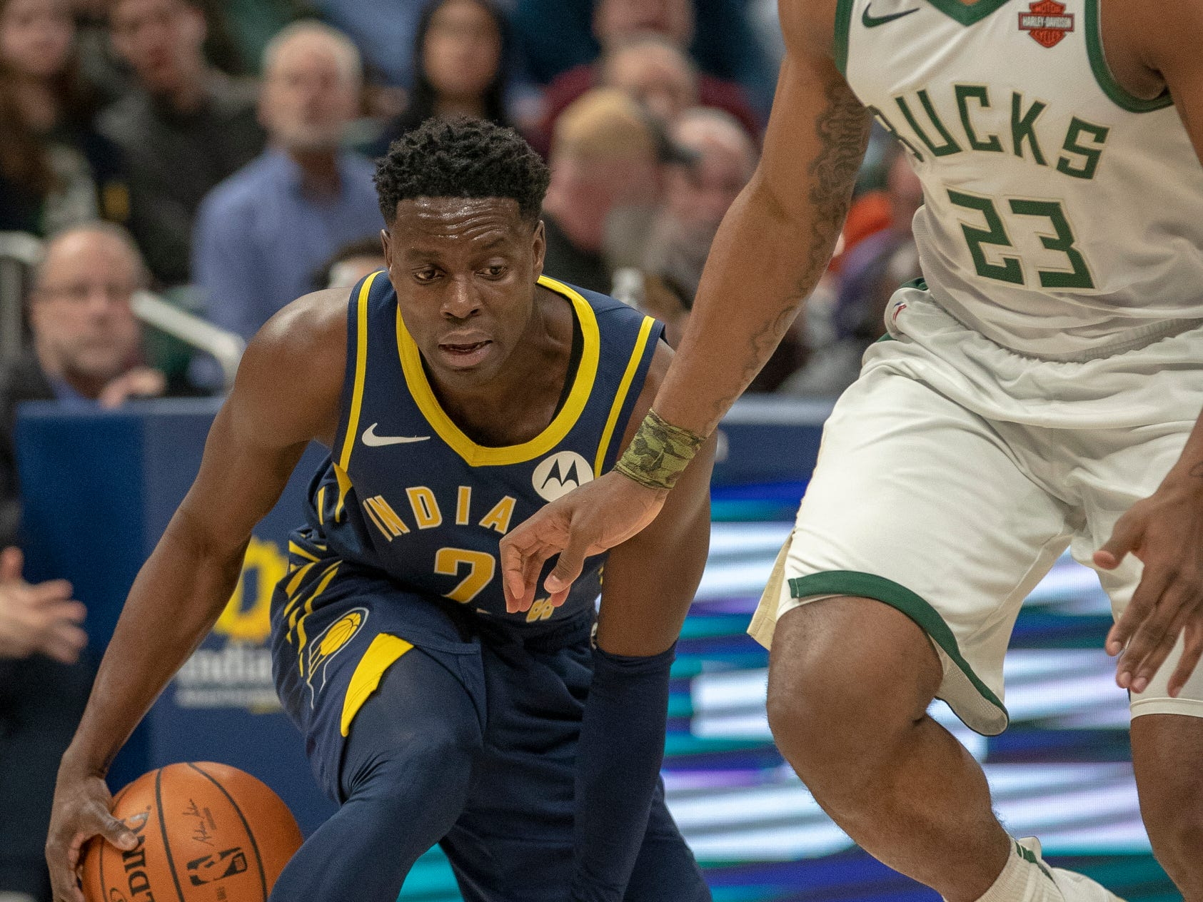 Darren Collison of the Indiana Pacers fakes out Sterling Brown of the Milwaukee Bucks during second quarter action, Bankers Life Fieldhouse, Indianapolis, Wednesday, Feb. 13, 2019. Milwaukee won 106-97.